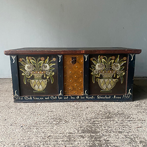 Antique Pine Marriage Box with Folk Painting