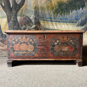 Antique Pine Marriage Chest with Flowers
