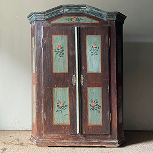 Antique Pine Marriage Cupboard with Roses in Blue amp Brown