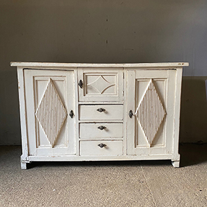 Antique Pine Sideboard with Diamond Panels in Original Paint