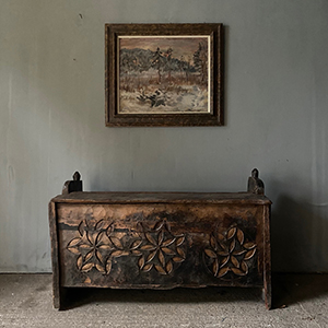 Antique Primitive Coffer with Carving
