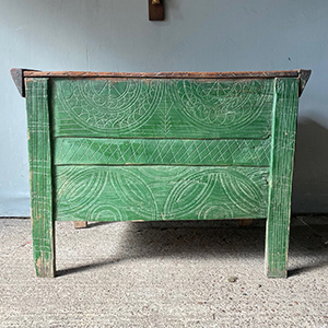 Antique Shepherds Carved Chest in Original Green