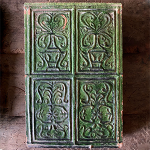 Antique Stove Tile with Flowering Urns