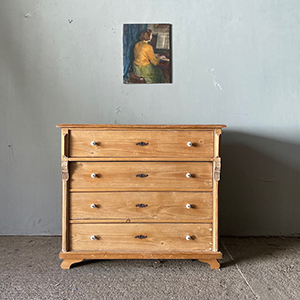 Antique Stripped Pine 4-Drawer Chest