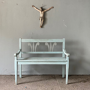 Antique Style Bench in Pale Blue-Grey