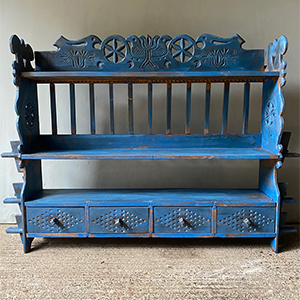 Carved Folk Art Low Bookcase with Birds amp in Original Blue Paint