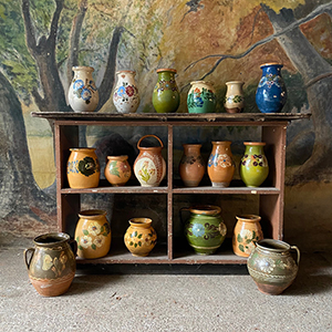 Collection of Glazed Pots with Flowers
