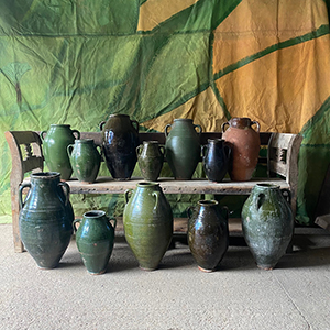 Collection of Antique Green Glazed Pottery