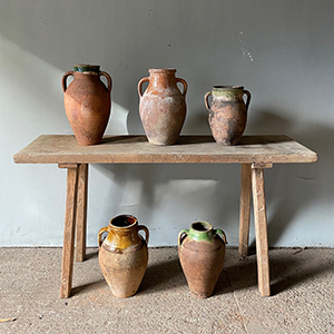 Collection of Terracotta Pots with Coloured Glazes