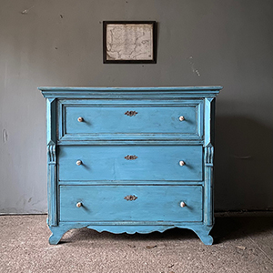 Decorative Antique Pine Commode in Nordic Blue