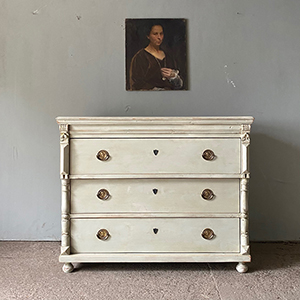 Decorative Antique Pine Commode in Old White