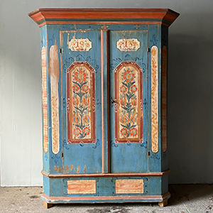 Delightful Marriage Cupboard in Powder Blue Red amp White