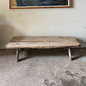 Early Antique Oak Pig Bench Table