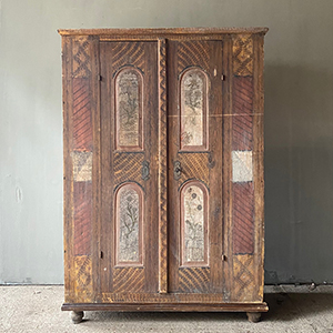 Early Painted Pine Marriage Cupboard