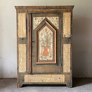 Early Pine Marriage Cupboard in Original Paint