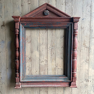 Early Primitive Carved amp Painted Wooden Frame in Original Paint