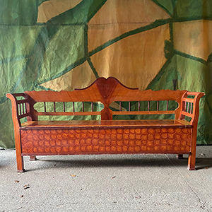 Exceptional Box Bench in Original Decorative Paint