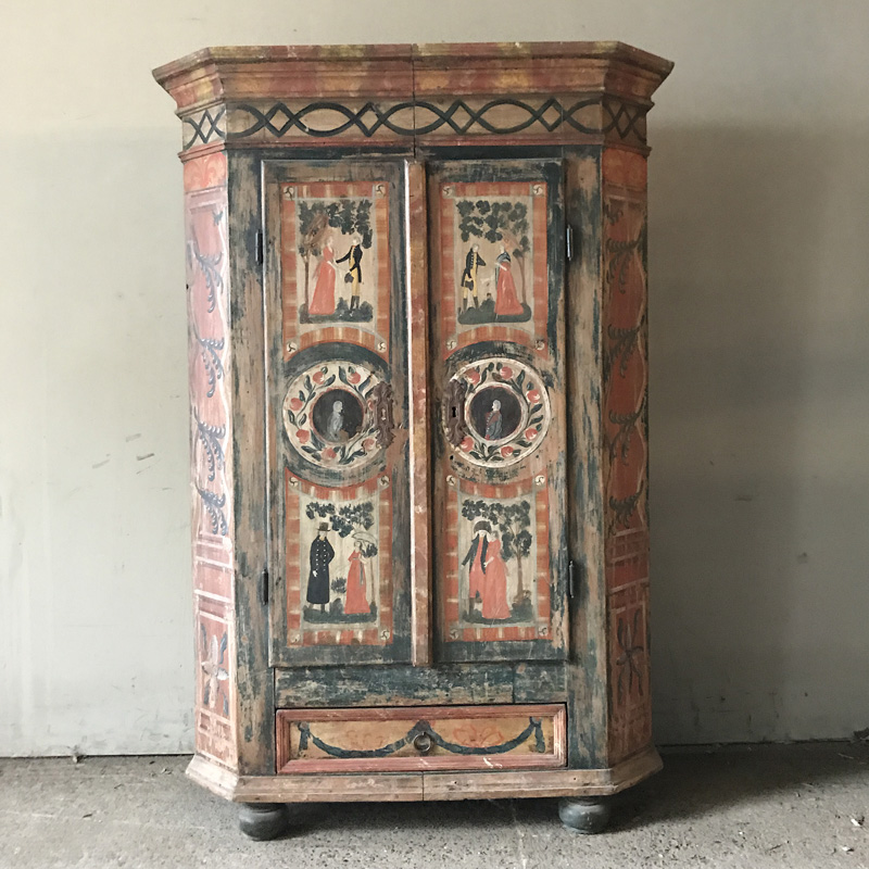 Painted Pine Marriage Armoire
