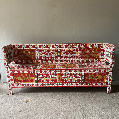 Painted Marriage Box Bench