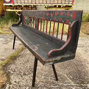 Folk Art Painted Antique Peasant Bench
