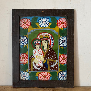 Folk Art Painting on Glass of Mother amp Child