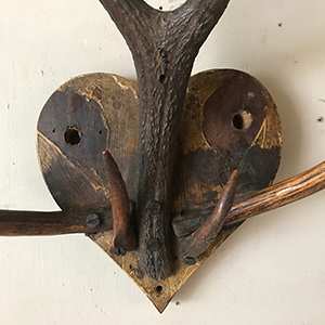 Folk Art Sculpture with Antlers and Love-Heart