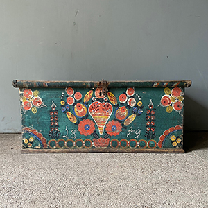 Folk Painted Marriage Box with Love Heart amp Flowers
