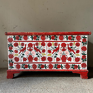Folk Painted Marriage Box with Peacocks