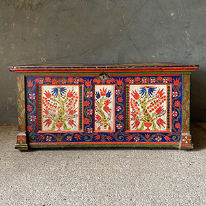 Folk Painted Marriage Trunk or Chest