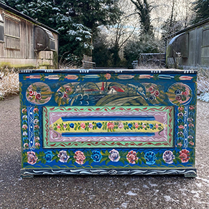 Folk Painted Pine Bridal Chest