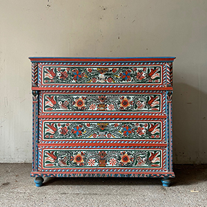 Folk Painted Pine Marriage Chest 1926