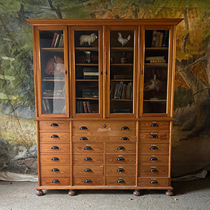 Glazed Apothecary Secretaire Pine Bookcase with Drawers