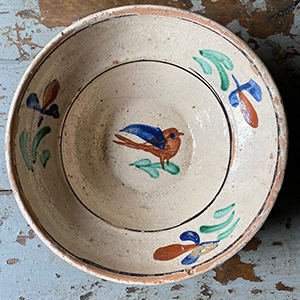 Glazed Earthenware Dish with Swallow