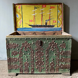 Green Bridal Trunk with Metalwork amp Naive Ship Painting