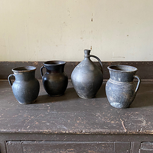 Group of 4 Black Fired Pottery Vessels