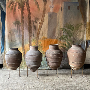 Group of 4 Olive Pots on Stands