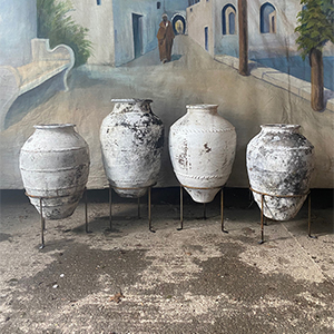 Group of Antique Urns in Original White Paint