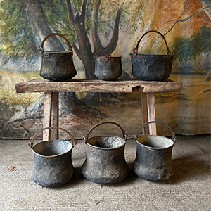 Group of Metal Antique Hand-Forged Cauldrons