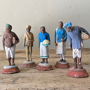 Group of Painted Indian Clay Figures