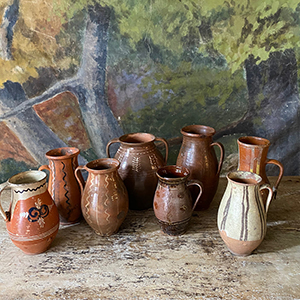 Group of Striped and Decorated Small Glazed Pots