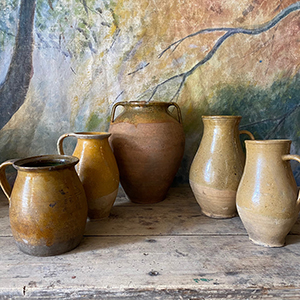 Group of Yellow and Ochre Glazed Peasant Pots