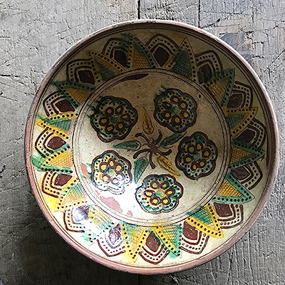 Hutsul Green and Yellow Glazed Dish