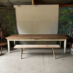Large Antique Pine Scrub Top Table with Painted Base