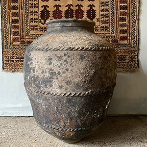 Large Blackened Olive Oil Pot with Rope-Twist Moulding