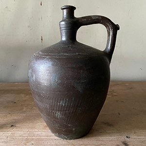 Large Decorated Black Water Pot with Handle