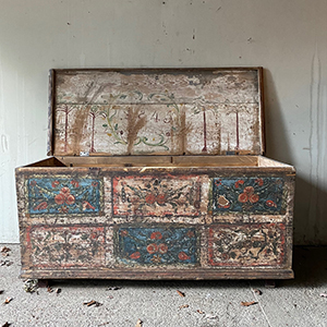 Large Folk Painted Marriage Chest