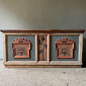 Large Folk Painted Pine Marriage Chest with Bird