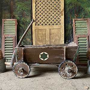 Large Hand-Pulled Cart in Original Paint with Compass Circles