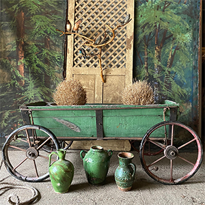 Large Hand-Cart with Decorative Metalwork in Original Green Paint