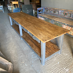 Large Painted Pine Table with Potboard amp Drawers